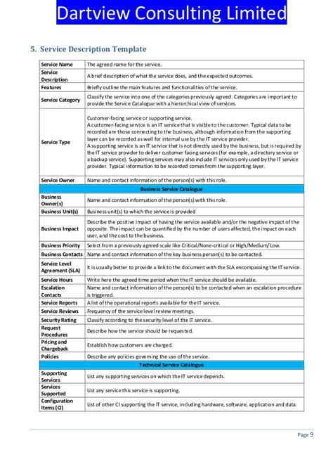 itil service catalogue template