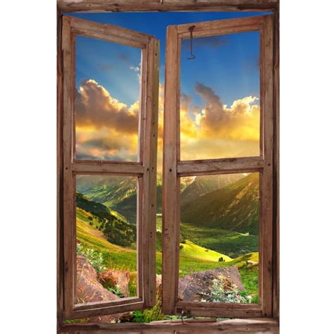 window wall mural valley  sunset peel  stick