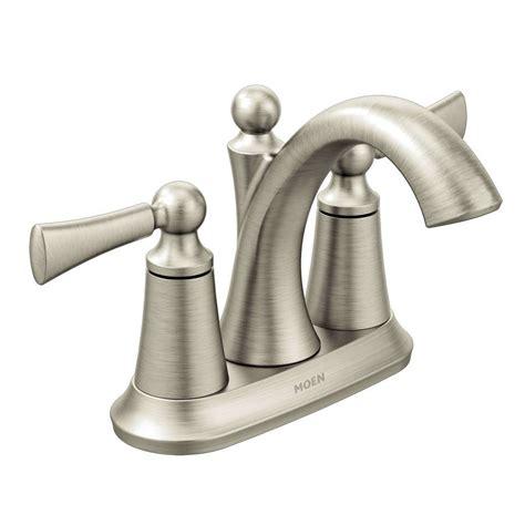lowes bathroom sink faucets brushed nickel shop moen wynford brushed nickel 2 handle 4 in centerset