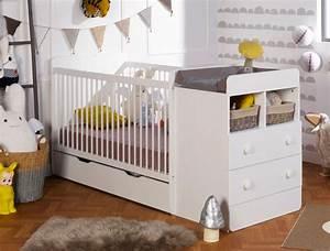 Lit Bébé Petit Espace : lit b b combin volutif blanc malte commode langer tiroir ~ Melissatoandfro.com Idées de Décoration