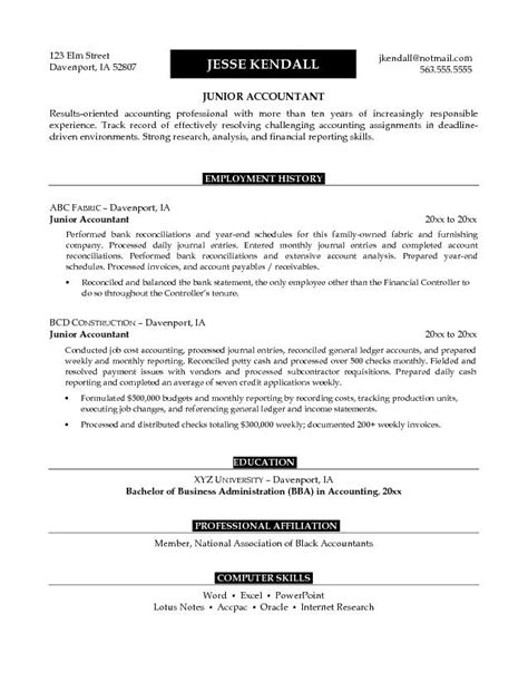 Junior Accountant Resume Templates by Exle Junior Accountant Resume Free Sle