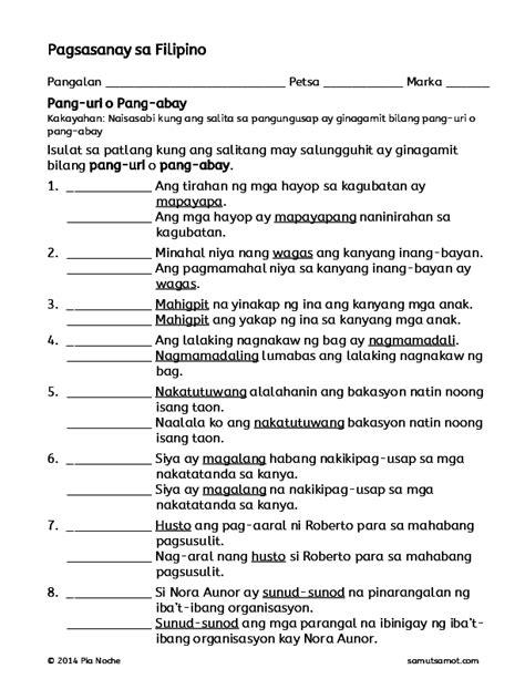 pdf pagsasanay sa filipino pang uri o pang abay joshua