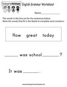 Kindergarten Ela Worksheets Free Grammar Worksheets For Kindergarten
