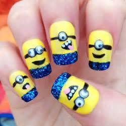 Glittery minions nail art