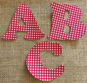 Red gingham fabric iron on letters applique for Iron on fabric letters