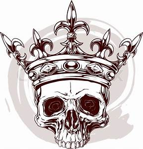 Graphic color human skull with royal lily king crown and