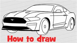 How to draw a car Ford Mustang Shelby GT500 2018 - YouTube