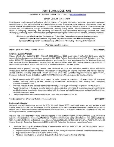 Resume Template For Senior Management by A Resume Template For A Senior Level It Manager You Can
