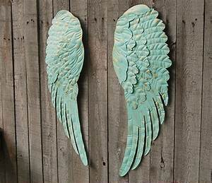 aqua angel wings wall decor the vintage artistry With kitchen cabinets lowes with metal angel wings wall art