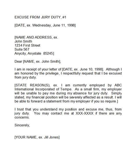 jury duty excuse letters tips template lab