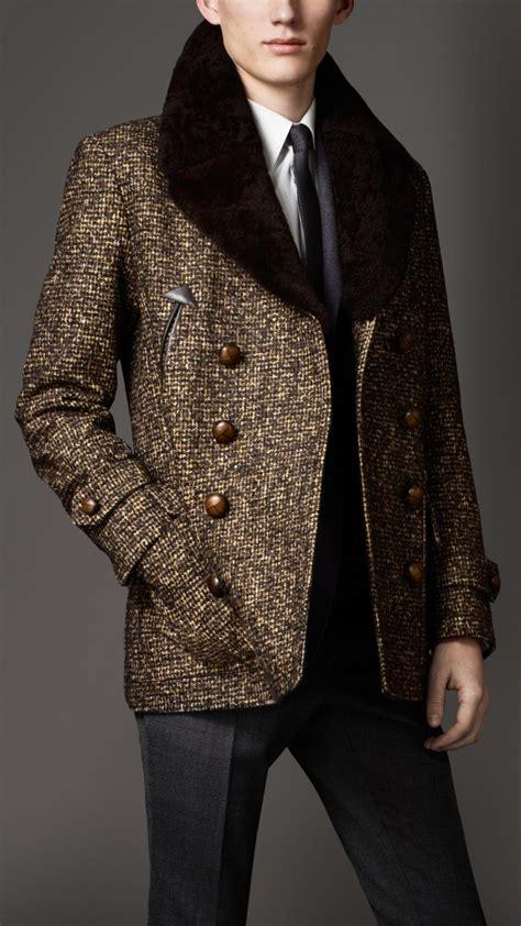 lyst burberry shearling collar tweed pea coat  brown  men