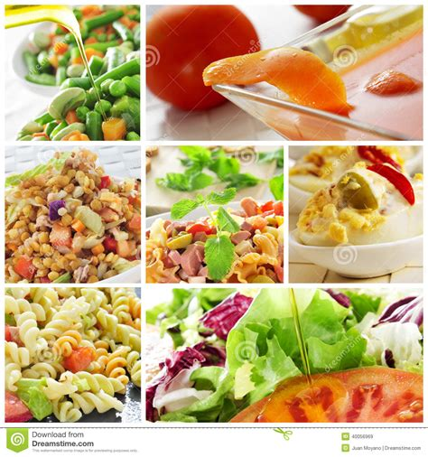 different pasta salads salad collage stock photo image 40056969