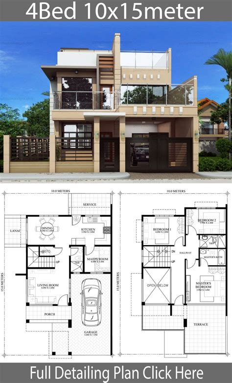 Home design plan 10x15m with 4 bedrooms Model house plan