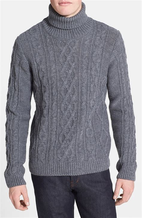 knit sweaters topman chunky cable knit turtleneck sweater in gray for