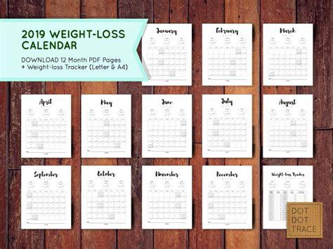 weight loss calendar weight loss tracker monthly weight loss