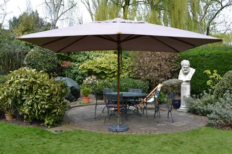 large rectangle wooden parasol 3 x 4m taupe sturdi plus