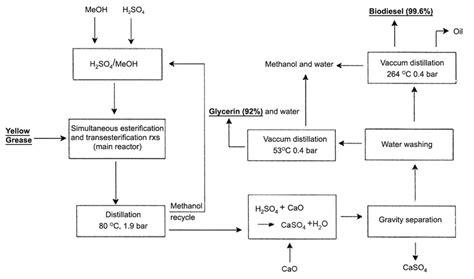Biofuel Engine Diagram by Flow Diagram For A Homogeneous Acid Catalyzed Process For