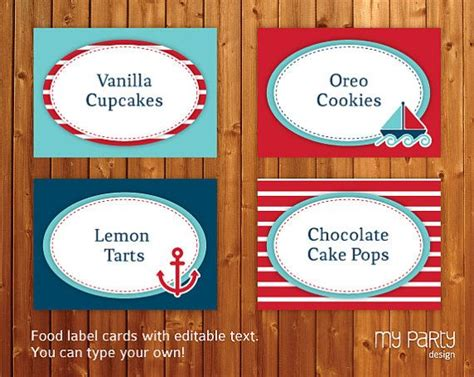nautical party food labels place cards instant