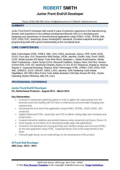 Ui Developer Resume Pdf front end ui developer resume sles qwikresume