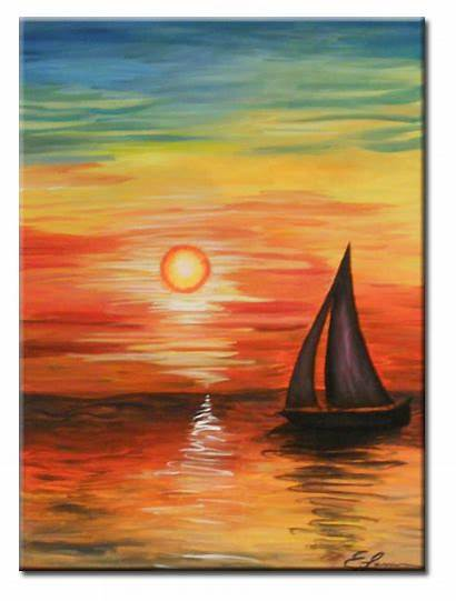 Acrylic Painting Paintings Sunset Landscape Canvas Boat