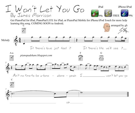 """Written notes were created to provide convenience to those who do not know how to read notes. PianoPad Upload Community: """"I Won't Let You Go"""" - James Morrision ..........uploaded by GH using ..."""