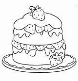 Coloring Strawberry Pages Cake Layer sketch template