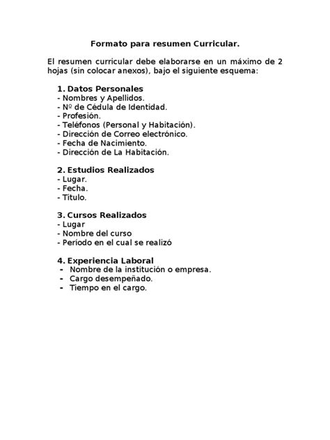 Formato De Resumen Curricular by Formato Para Resumen Curricular