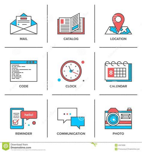 icones de bureau ligne icônes d objets de bureau réglées