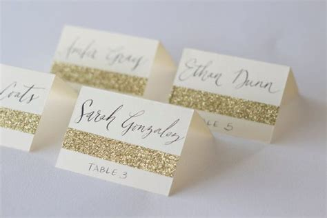 table number place cards glitter place cards with custom calligraphy for wedding