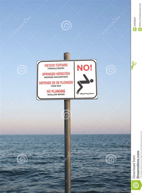 shallow water sign stock photography image
