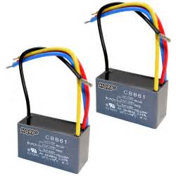 2 pack capacitor for harbor ceiling fan 3uf 3 5uf 6uf 4 wire cbb61 ebay