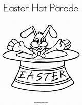 Easter Hat Parade Coloring Pages Bunny Outline Cursive Twistynoodle Egg Built California Usa Noodle sketch template