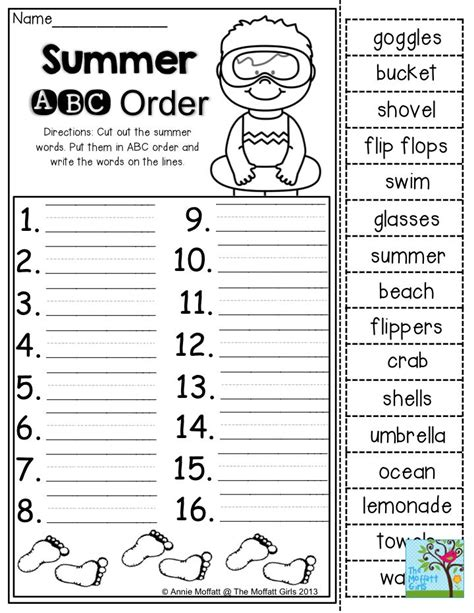 summer abc order cut out the summer words put them in