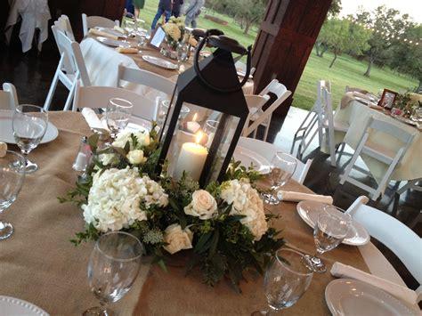White Lantern And Hydrangea Centerpiece Wedding