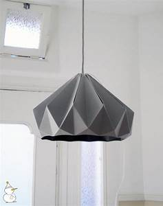 Chestnut Paper Origami Lampshade, Grey, by Studio ...