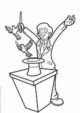 Magician Coloring Pages Magicians Popular sketch template
