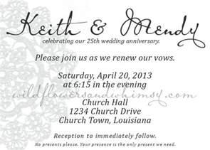 wedding program wording sles 25th anniversary party invitation wording wedding