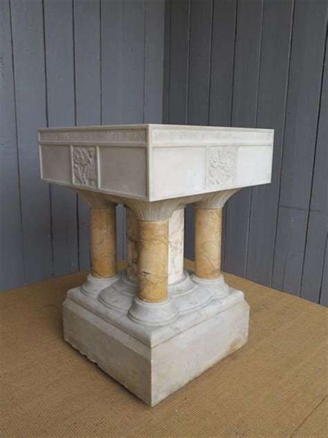 Large Victorian Hand Carved Marble Font