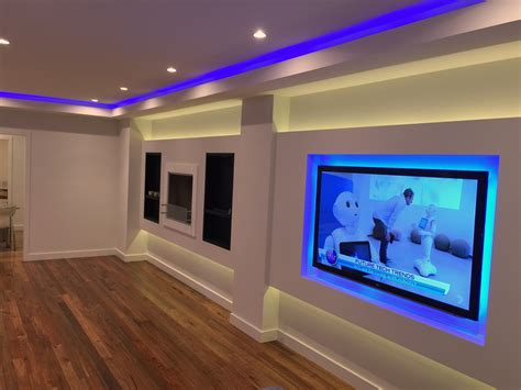 Feature Living Room With Led Light Strip And Downlights