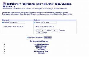 Anzahl Tage Berechnen Zwischen Zwei Daten : den zeitraum zwischen zwei daten berechnen der tutonaut ~ Themetempest.com Abrechnung