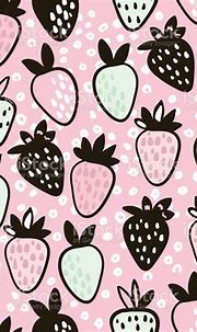 Seamless Pattern With Hand Drawn Strawberry Cute Pink ...