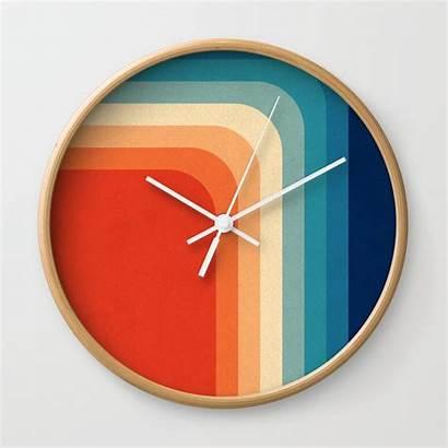 70s Palette Society6 Retro Clock Clocks Iii