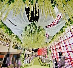 wedding decoration wisteria silk Ceiling Decor white