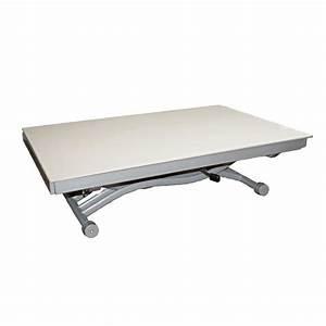 Table Basse Relevable Zen Plateau En Verre Blanc Achat