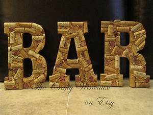 large 105 wine cork letter bar sign wall With letters made out of wine corks