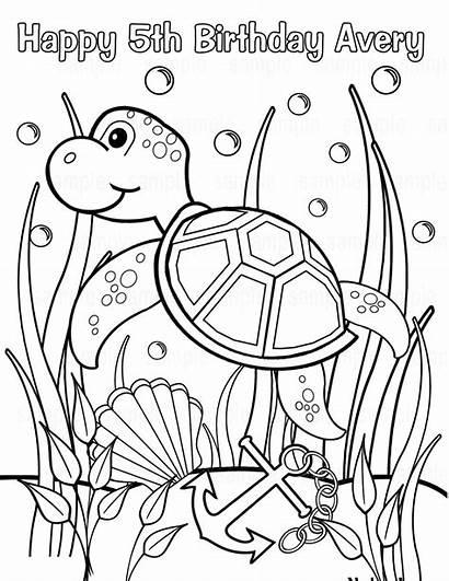 Sea Under Printable Coloring Turtle Birthday Pdf