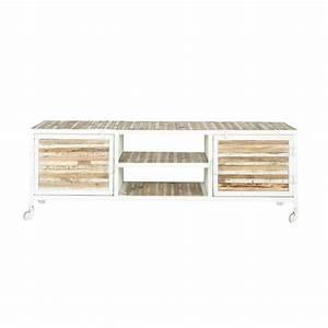 Meuble Bois Et Blanc : meuble tv en m tal et bois blanc l 140 cm mistral maisons du monde ~ Teatrodelosmanantiales.com Idées de Décoration