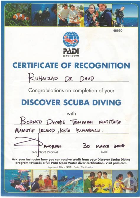 padi scuba diving project aware certificates
