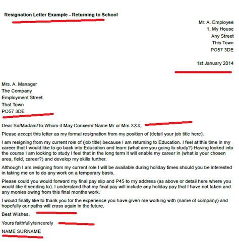 resignation letter  returning  school