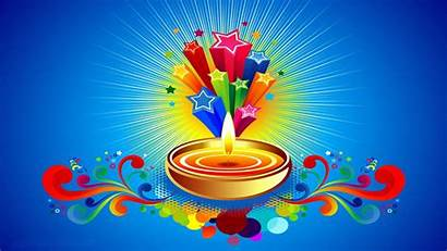 Diwali Background Happy Celebration Stars Candle Blu